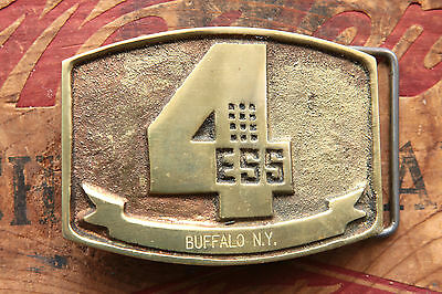 Vintage Hand Made Solid Brass 4 ESS Buffalo NY Western Belt Buckle