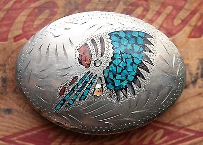 Vintage Hand Made Turquoise Coral Abalone Inlay Indian Chief Western Belt Buckle