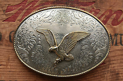 Vintage Crown Silver Hand Made Eagle Western Belt Buckle Limited Edition Series