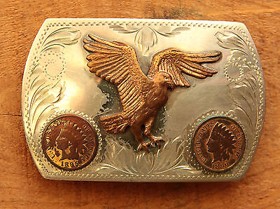 Vtg Comstock German Silver Eagle Two Indian Pennies Western Belt Buckle