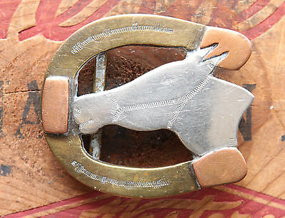 Vtg Small Hand Made Brass Copper Nickel Horse Head Cowboy Western Belt Buckle