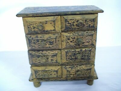 """Antique Style 8 Drawer Table Top Footed Wood Chest Organizer 10"""" x 9"""" x 4"""""""