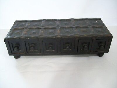 """Antique Style 6 Drawer Table Top Footed Wood Chest Organizer 15"""" x 6"""" x 4"""""""