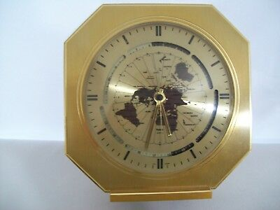 Vintage Brass Kundo Quartz World Time Desk Clock West Germany 1960's-70's