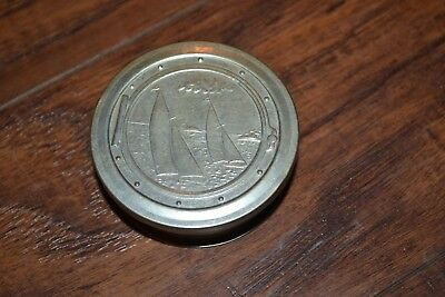 B35- Vintage Aluminum Collapsible Cup with Sailboat Lid