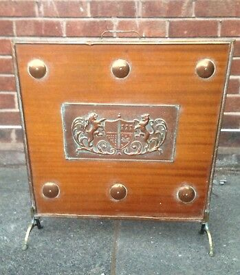 Antique Copper & Wood Arts And Crafts Fire Guard - Coat Of Arms