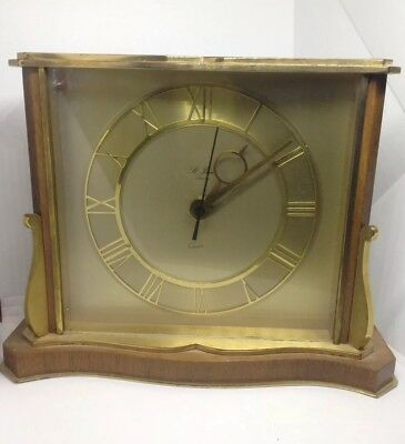 St. James Brass And Wood Mantle Clock - Working Order