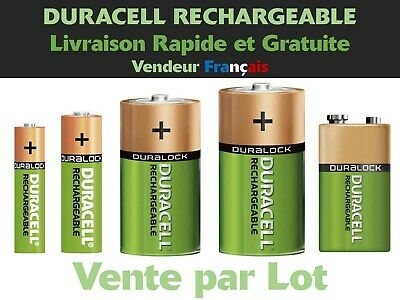 Lot de Piles AAA HR03, AA HR6, C HR14, D HR20, 9V HR9V Duracell Rechargeable
