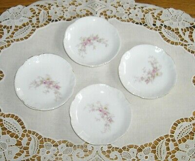 "Vintage Porcelain Flower Butter Pats 3 1/4"" Plates ~ Set of 4 ~"