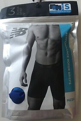 "NWT 3 Pack NEW BALANCE PERFORMANCE MENS BOXER BRIEFS MESH 5"" Blues Gray Size S"