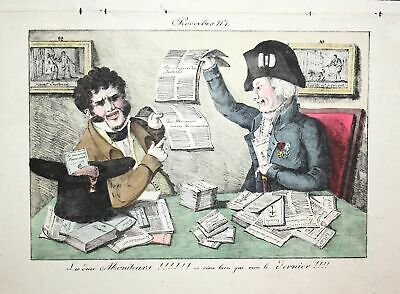 c. 1810 moniteurs monitors newspapers Zeitung caricature Karikatur lithograph