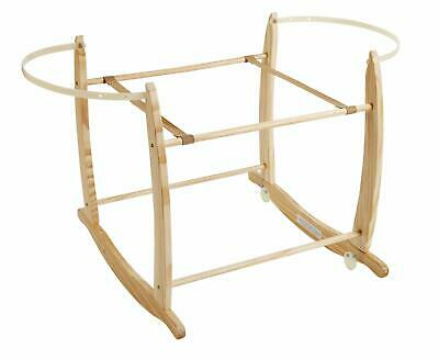 Clair de Lune Deluxe Sturdy Wooden Rocking Moses / Wicker Basket Stand – Natural