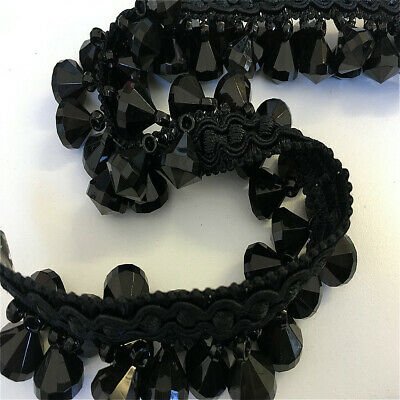 Black Designer Beaded Trim By The Metre