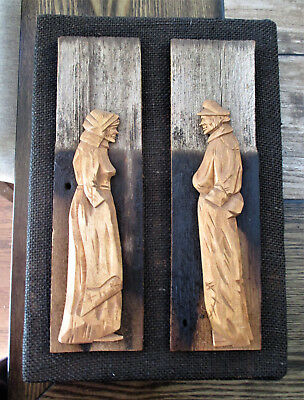 Vtg Berthier Beauregard Folk Art Wood Carved Man & Woman on a Burlap Plaque