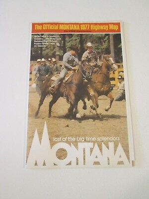 Vintage 1977 Montana Official State Highway Travel Road Map