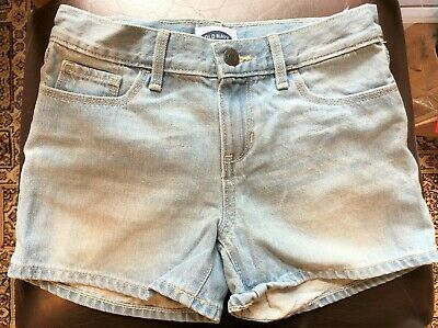New Old Navy San Francisco Bagged Girls Pale Blue Denim Shorts Adjust Ages 7&8 Y