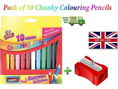 10 Chunky Colouring Pencils Bright Assorted Colours Easy Grip & Sharpener
