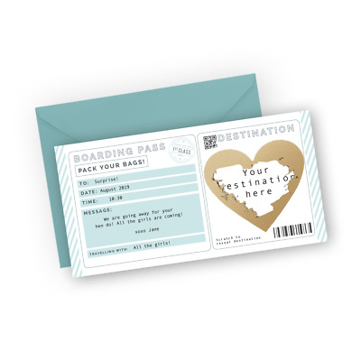 Personalised boarding pass Surprise trip reveal Custom holiday announcement