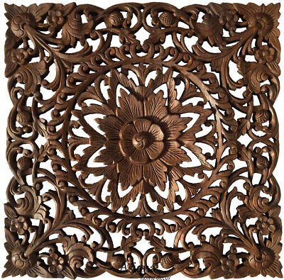 Asian Carved Wood Wall Decor Plaque. Floral Wood Wall Art Panel. Dark Brown 24""