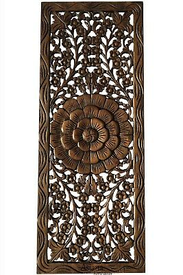 "Asian Carved Wood Wall Decor Panel. Floral Wood Wall Art. Dark Brown 35.5""x13.5"""