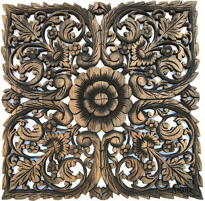 Square Wood Carved Wall Art Panel. Asian Wood Wall Decor Plaque. Black Wash 24""