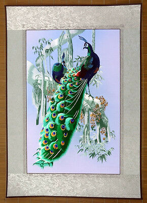 "Chinese embroidery painting peacock 21x30"" traditional hand-made art"