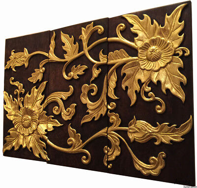 "Tropical Wood Carved Wall Panels. Asian Flower Relief Wood Wall Decor.24""x36"""