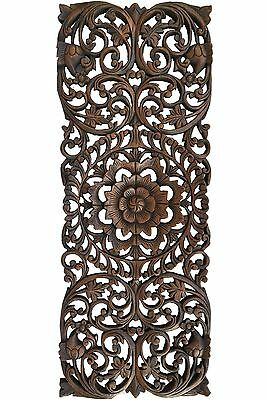 Rustic Home Decor Floral Wood Carved Wall Panels. Asian Wood Wall Decor Plaque.