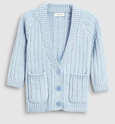 Next Baby Girls Blue Long Chenille Line Cardigan Age 6-9 Months BNWT