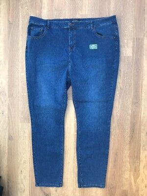 Ladies Evans straight leg blue navy jeans denim plus size 30 BNWOT Stretch