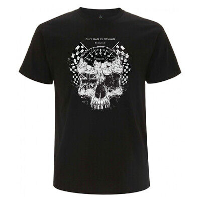 Oily Rag Clothing Ton Up Skull Cafe Racer Motorcycle T Shirt Mens