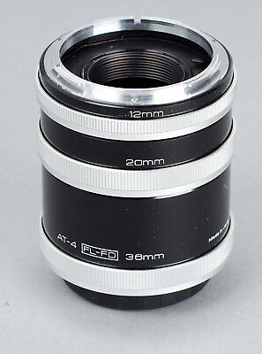 Vivitar AT-4 automatic Extension Tube Set 12mm 20mm 36mm Canon FD FL Mount