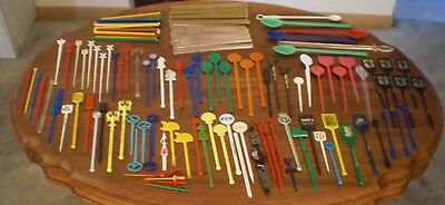 Lot of 140+ Vintage Cocktail Stirrers,Swizzle Sticks,Spoons,Garnish Picks
