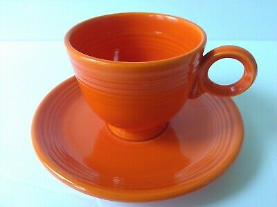 Vintage Genuine Fiesta Radioactive Red Cup Saucer Inner Rings Homer Laughlin USA
