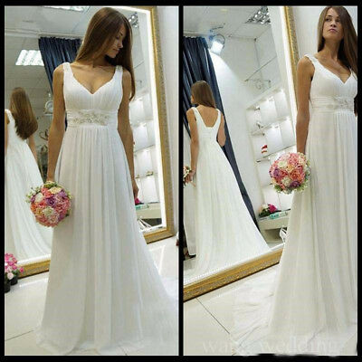 Simple Beading Beach Long Chiffon Wedding Dresses Deep V Neck Boho Bridal Gowns