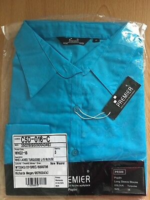Premier Womens Long Sleeve Blouse Formal Blue Work Shirt Size 18