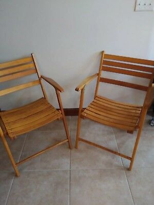 Mid-Century 50s Telescope Club Deck Folding Wooden Chair two chairs