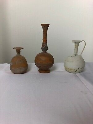 Authentic Cypro-Geometric Creme Ware Pottery Flasks 1000-750 B.C.  Lot Of 3