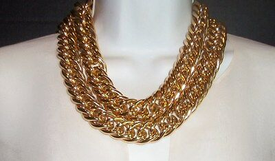 Anne Klein Vintage Massive Chunky Gold Plated Layered Chain Necklace Toggleclasp