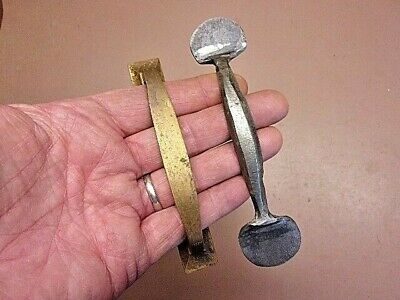 """Two (2) Drawer / Door Pulls 4 7/8"""" Brass 5 5/8"""" Hand Forged Wrought Iron Neat!"""