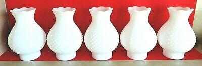 Hobnail White Milk Glass Chimney Shades Set of 5 vintage