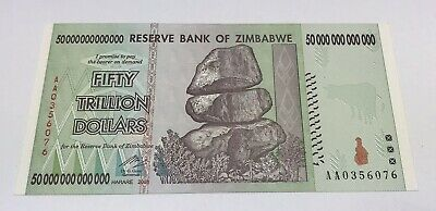 2008 Reserve Bank Zimbabwe 50 Trillion Dollar Note AA Serial Number