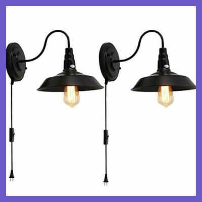 Industrial Vintage Bedroom Wall Lamps Plug In Gooseneck Barn Light Sconces For B
