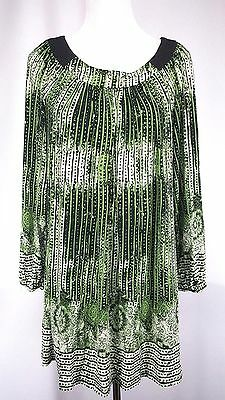 Beige by eci Womens Dress Size M Black Green Multi-color Shift Long Sleeves