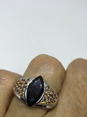 Vintage Genuine Smoky Topaz Citrine Garnet Deco 925 Sterling Silver Ring