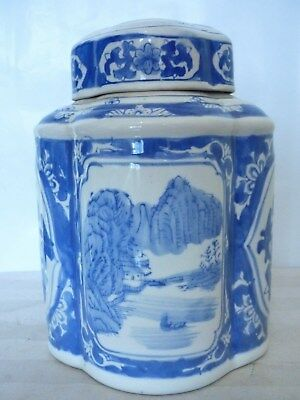 Vintage Chinese Tea/Ginger Jar Blue + White Hand Painted