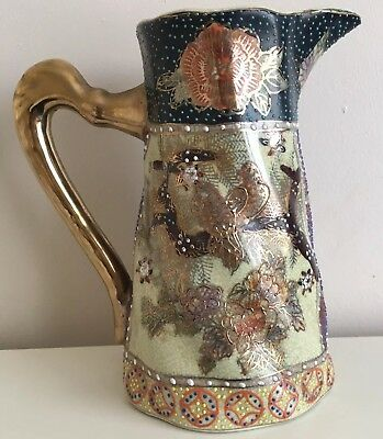 Antique Japanese Satsuma Water/Wine jug Floral And Bird Designed EC High 6.12""