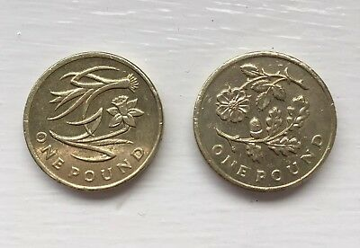 Collectable 1 Coin Rare - Flower Detail Old £1 Coin X2 Very Good Condition