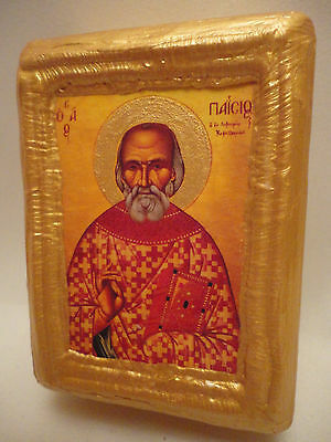 Saint Paisios of Cephalonia Greek Orthodox Church Icon Art on Pine Wood Block