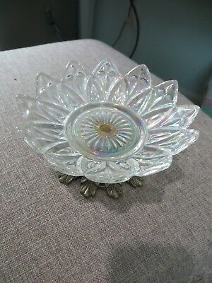 """Rare Vintage 5 1/2"""" Clear Federal Glass Petal Dish On Cast Iron Stand"""